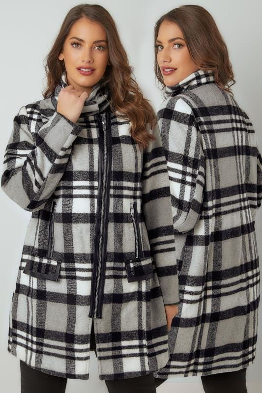 Plus Size Coats Black, White & Grey Checked Biker Style Coat With PU Trim
