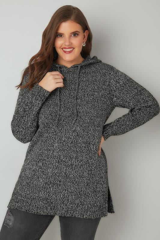 Black & White Knitted Hooded Jumper