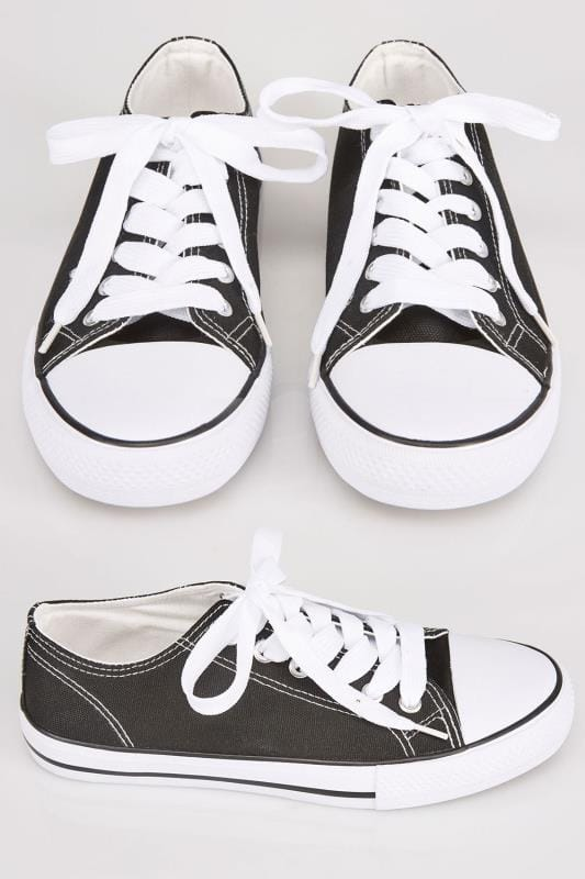 Black & White Lace Up Rubber Sole Canvas Trainers In TRUE EEE Fit