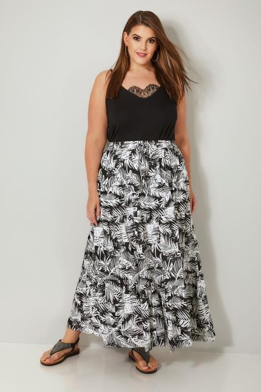 Black & White Leaf Print Tiered Maxi Skirt