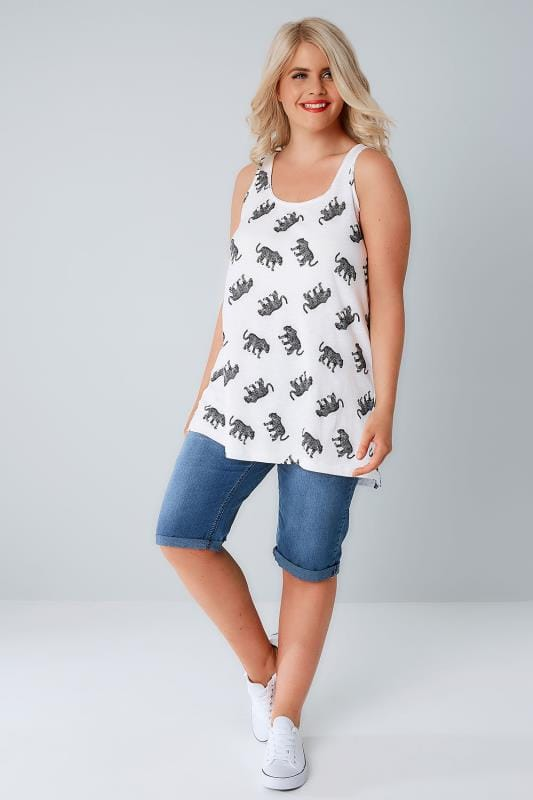 Black & White Leopard Print Swing Vest Top