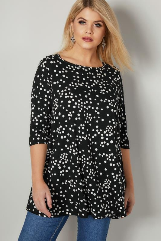 Black & White Longline Polka Dot Print Top With Envelope Neckline