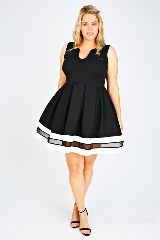 Black, White & Mesh Block Stripe Skater Dress