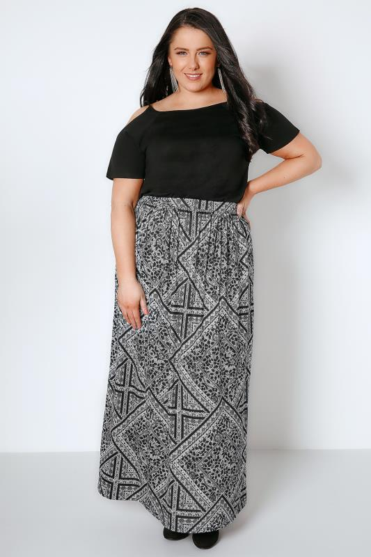 YOURS LONDON Black & White Mixed Floral Print Jersey Maxi Skirt