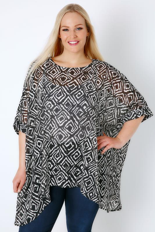Black & White Mono Diamond Print Batwing Sleeve Chiffon Sheer Top