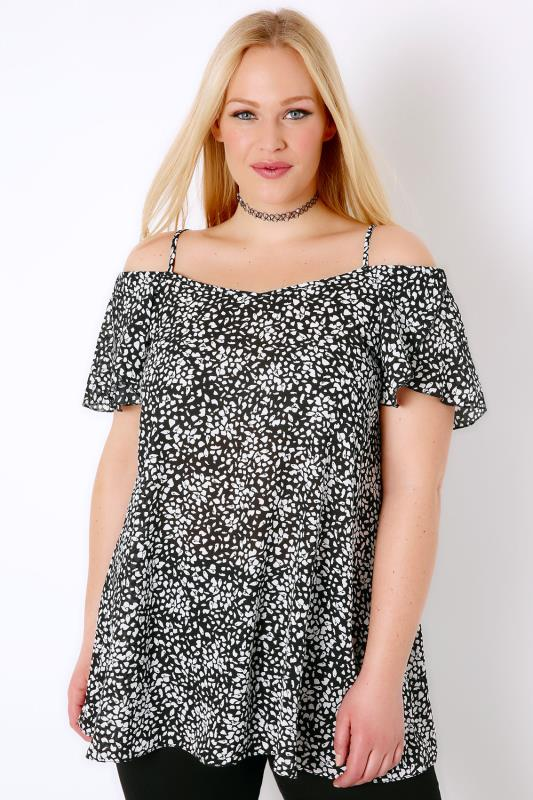 Black & White Mono Print Cold Shoulder Gypsy Top