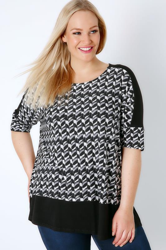Black & White Mono Print Colour Block Top