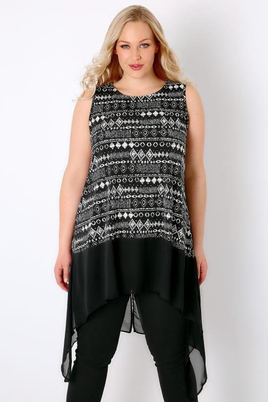 Black & White Mono Print Sleeveless Top With Chiffon Stepped Hem