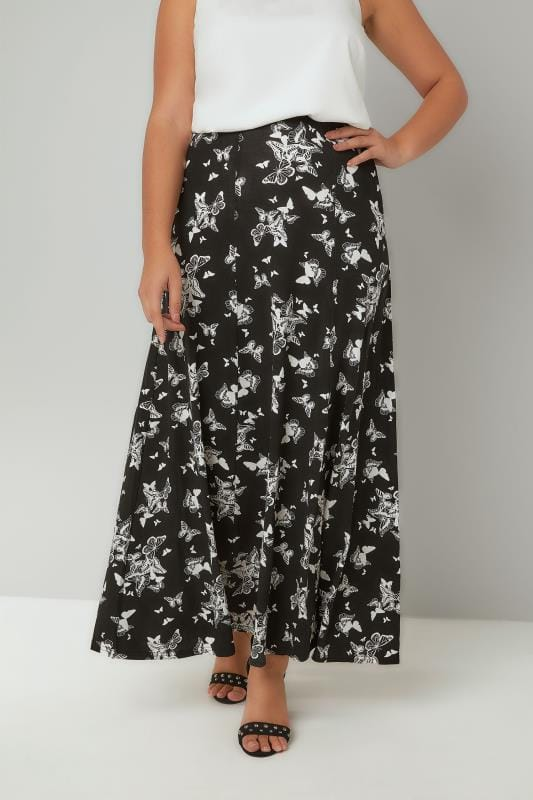 Plus Size Maxi Skirts Black & White Monochrome Butterfly Print Maxi Skirt