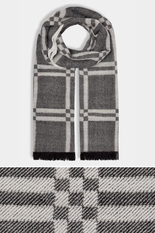 Plus Size Scarves Black & White Monochrome Check Blanket Scarf