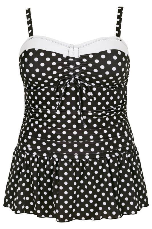 Black & White Monochrome Polka Dot Print Swim Dress