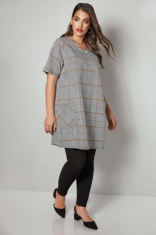 Black, White & Multi Dog Tooth Checked Tunic Dress With Front Pockets