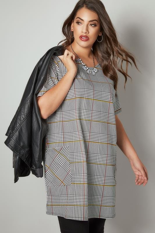 Plus Size Tunic Dresses Black, White & Multi Dog Tooth Checked Tunic Dress With Front Pockets