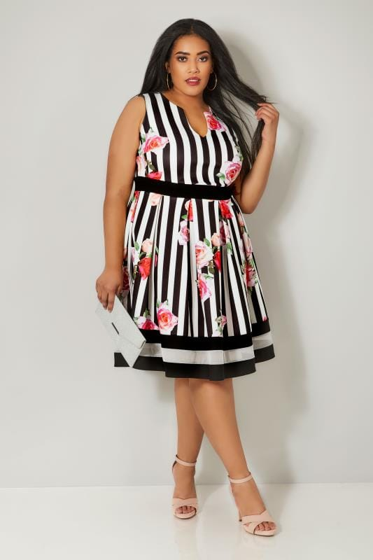 Black, White & Multi Striped Floral Print Skater Dress