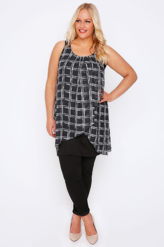 Black & White Open Check Print Chiffon Overlay Tunic Dress