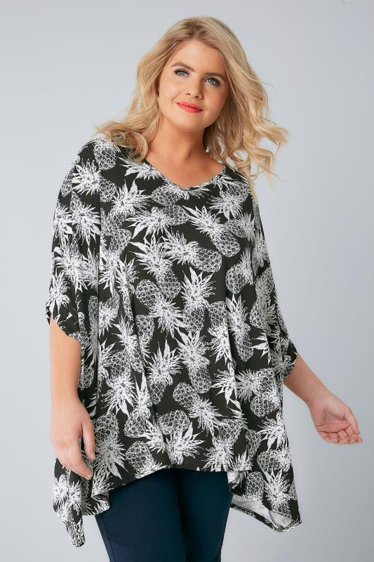 Day Tops Black & White Oversized Pineapple Print Top 132245