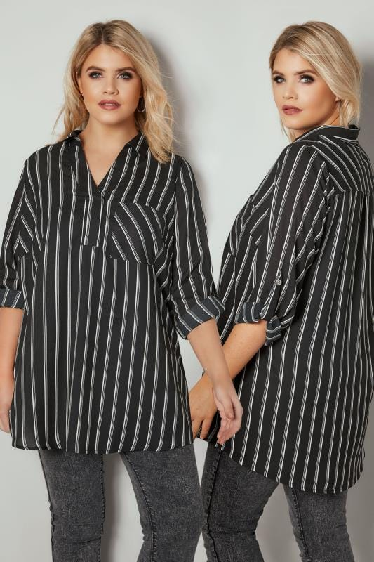 Plus Size Shirts Black & White Oversized Striped Shirt