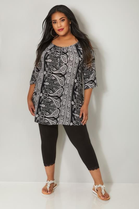 Black & White Paisley Print Cold Shoulder Gypsy Top