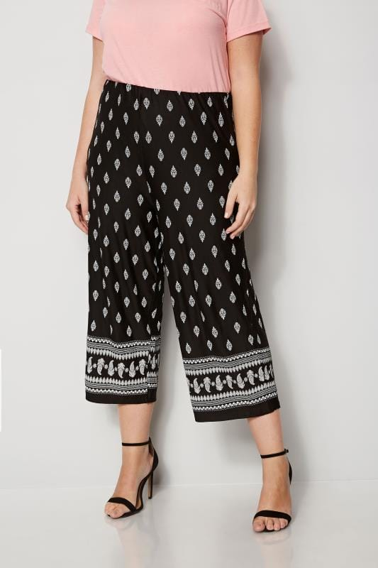 Plus Size Cropped Trousers Black & White Paisley Print Culottes