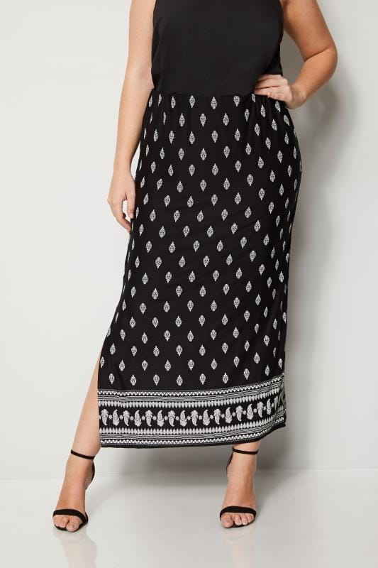 Plus Size Maxi Skirts Black & White Paisley Print Maxi Skirt