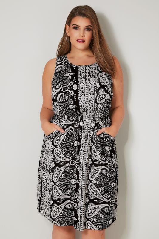 Plus Size Skater Dresses Black & White Paisley Print Pocket Dress With Elasticated Waist