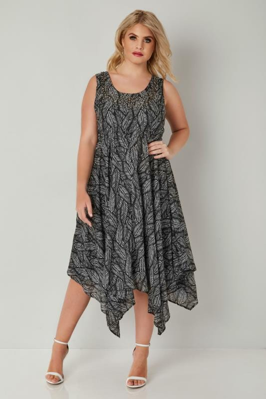 Black & White Palm Leaf Print Hanky Hem Dress With Jewel Embellishment