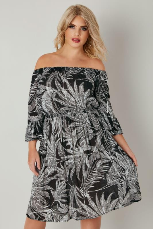 Black & White Palm Print Gypsy Dress