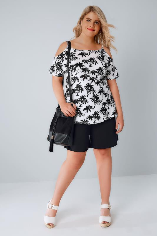Black & White Palm Tree Print Strappy Cold Shoulder Jersey Top