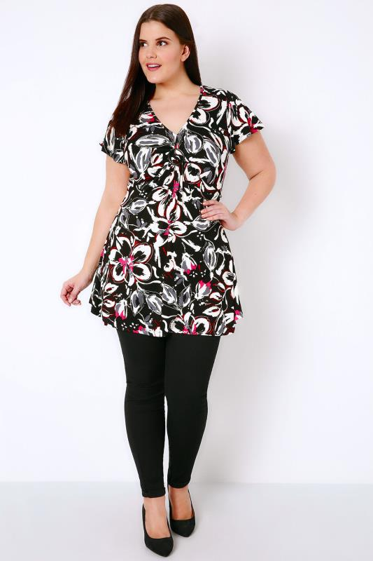 Black, White & Pink Floral Print Top With Ring Detail
