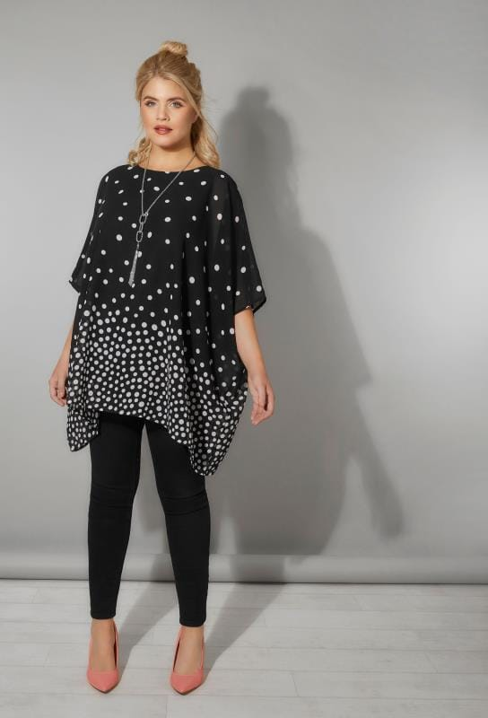 Black & White Polka Dot Chiffon Cape Top