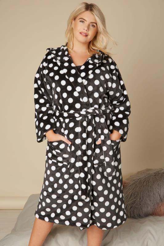 Plus Size Dressing Gowns Black & White Polka Dot Dressing Gown