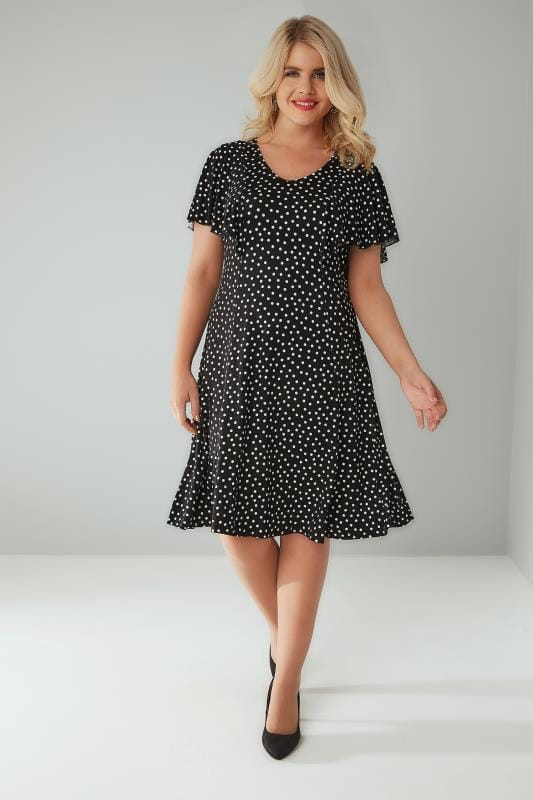 Black & White Polka Dot Frill Dress