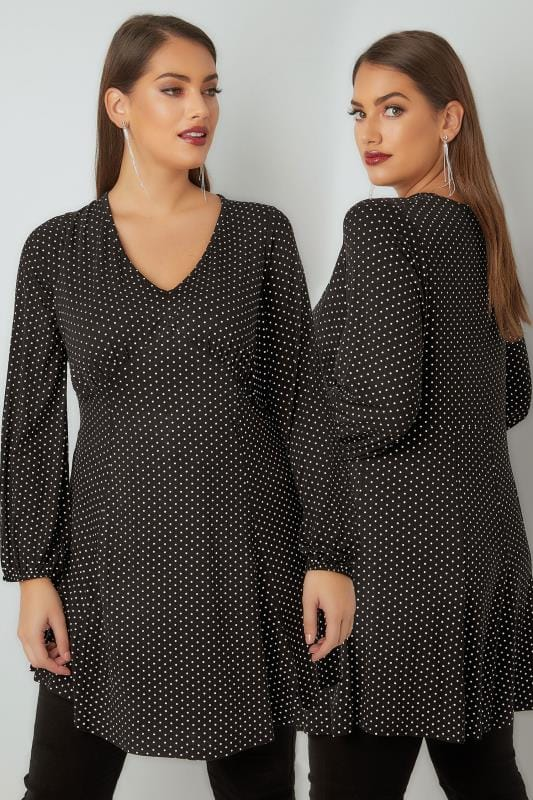 Plus Size Tunic Dresses Black & White Polka Dot Print Tunic Dress With Elasticated Cuffs