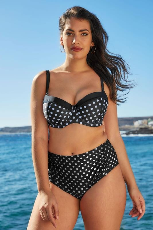 Black & White Polka Dot Ruched Bikini Briefs