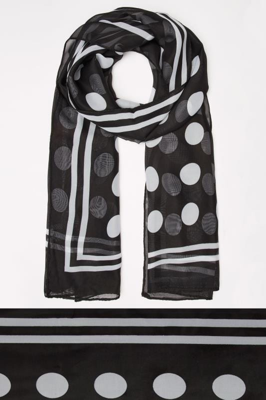 Black & White Polka Dot Scarf With Stripe Border