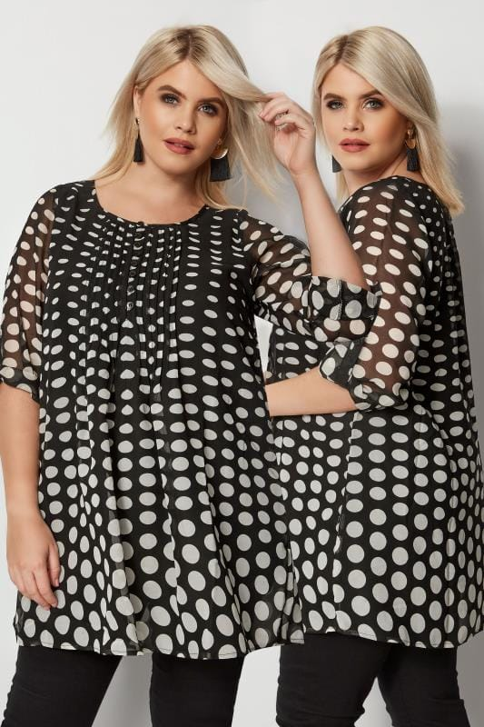 Plus Size Shirts Black & White Polka Dot Shirt