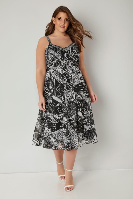 Black & White Printed Dress With Bead Embellished Neckline