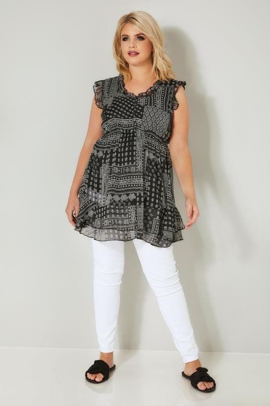 Black & White Printed Longline Top With Frilled Details & Elasticated Waist