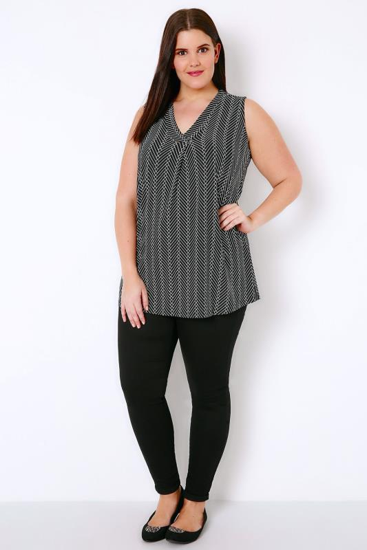 Black & White Printed Sleeveless V-Neck Jersey Top