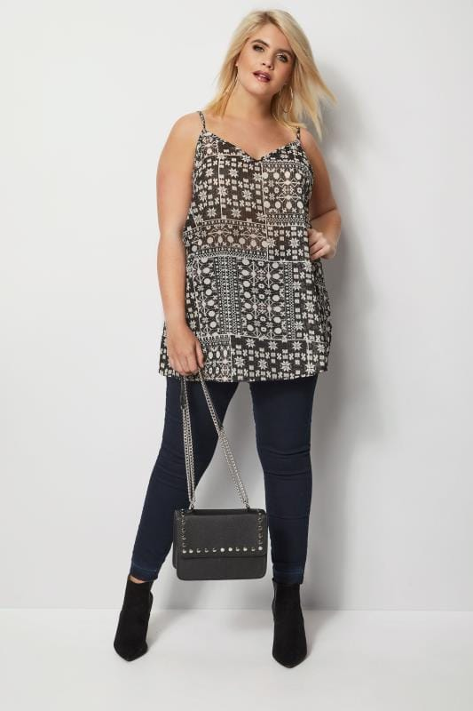 Black & White Printed Woven Cami Top