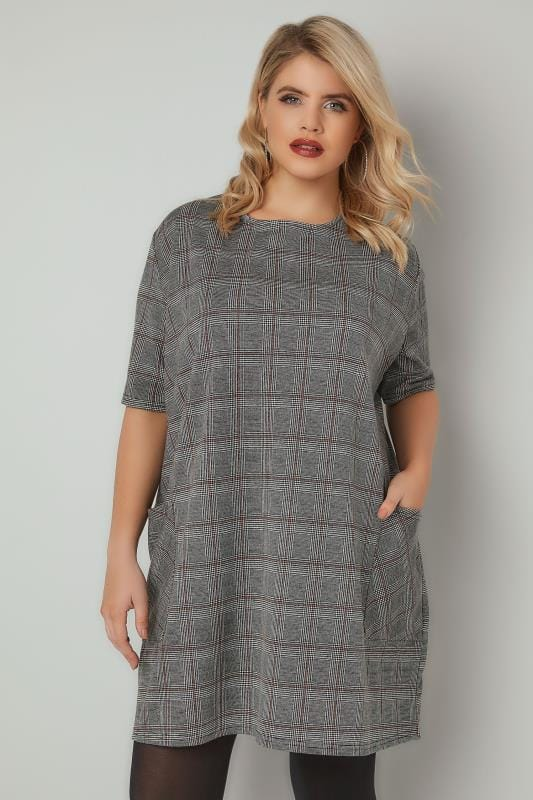 Plus Size Tunic Dresses Black, White & Red Check Ponte Tunic Dress With Pockets