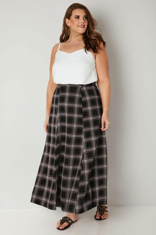 Black, White & Red Checked Maxi Skirt