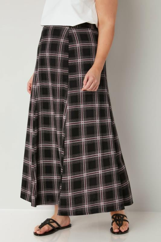 Plus Size Maxi Skirts Black, White & Red Check Maxi Skirt