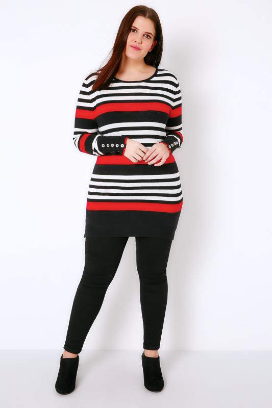 Black, White & Red Stripe Jumper With Button Cuffs