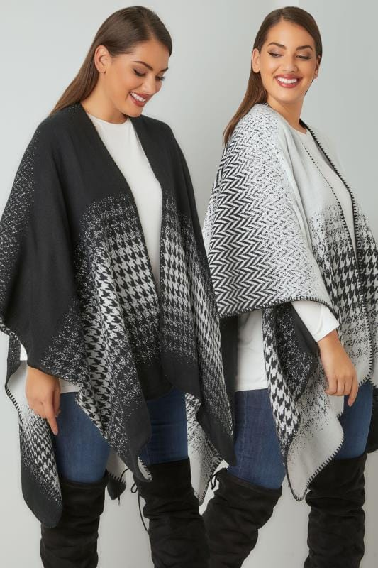 Plus Size Wraps & Capes Black & White Reversible Herringbone Knit Wrap