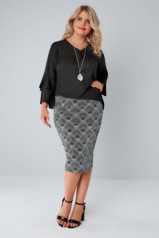 YOURS LONDON Black, White & Silver Art Deco Print Glitter Pencil Skirt