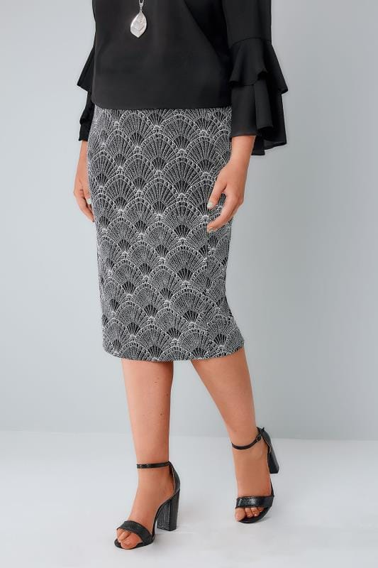 Black, White & Silver Art Deco Print Glitter Pencil Skirt
