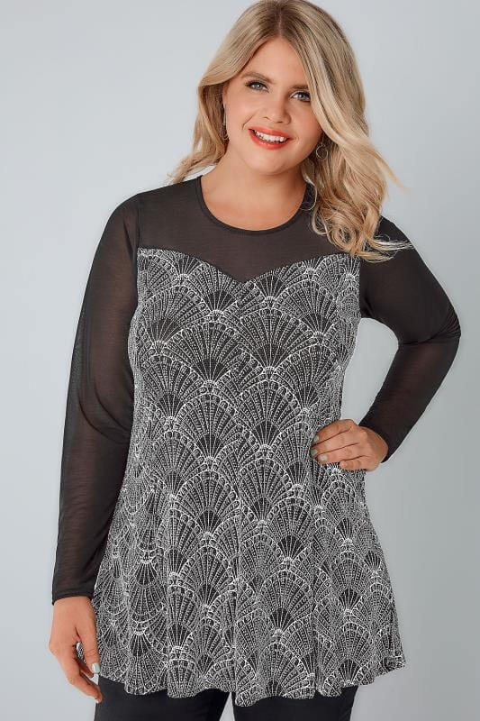 YOURS LONDON Black, White & Silver Art Deco Print Glitter Swing Top