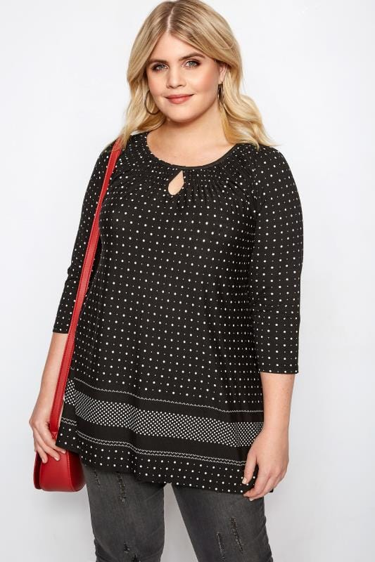 Plus Size Day Tops Black & White Spot Print Gypsy Top