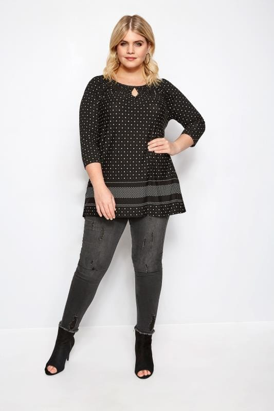 Black & White Spot Print Gypsy Top